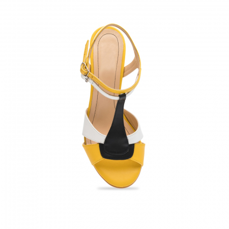 Sandale din piele naturala cu toc jos CA484