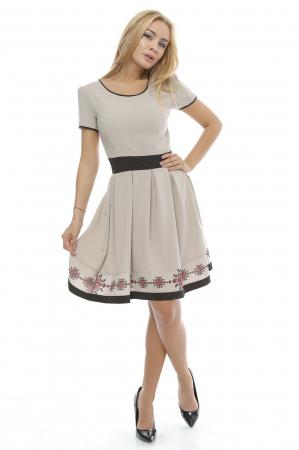 Rochie dama cu fusta plisata  si imprimeu traditional RO1290