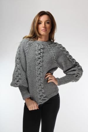 Pulover dama gri cu impletitura tricotat manual [0]