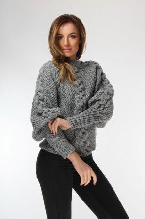 Pulover dama gri cu impletitura tricotat manual [1]