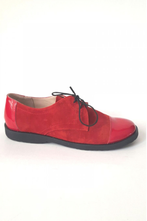 Pantofi din piele Oxford Pam Red, 370