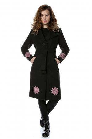 Palton dama din stofa neagra si flori aplicate PF230