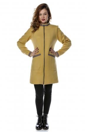 Palton dama din stofa galbena stil tunica PF250