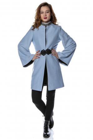 Palton dama din stofa bleu cu maneci clopot PF260