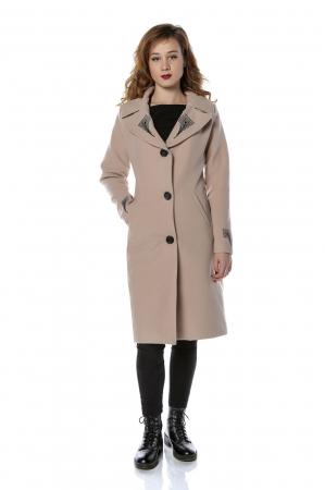 Palton dama din stofa roz pudra cu broderie PF28, M0