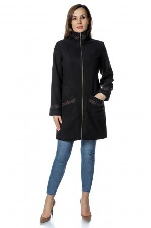 Palton negru dama din stofa cu fermoar PF300