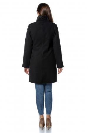 Palton negru dama din stofa cu fermoar PF302