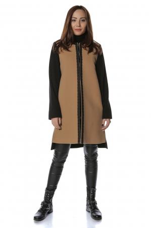 Palton bicolor din stofa de lana Elisa0