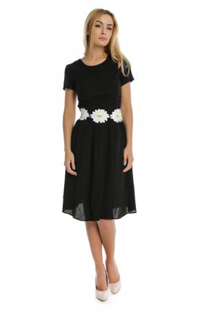 Rochie neagra cu aplicatii florale brodate RO1850