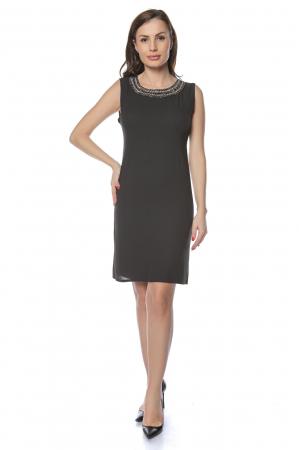 Rochie dama eleganta neagra cu margele multicolore la gat RO2360