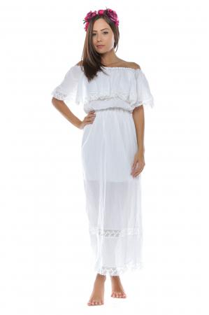 Rochie lunga alba din panza topita Irinuca