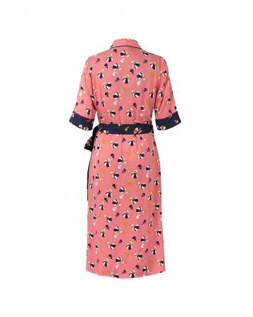 Rochie petrecuta roz cu imprimeu floral si maneci scurte4