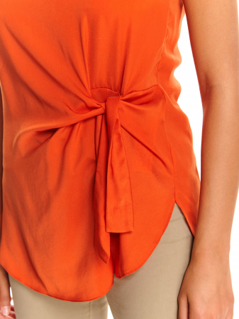 Bluza office fara maneci cu cordon decorativ in talie [4]