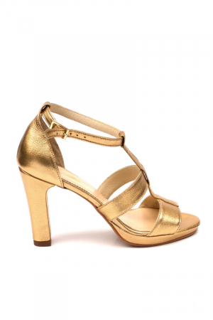 Sandale din piele cu toc gros Shiny Gold