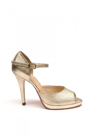 Sandale din piele cu toc stiletto Gold0