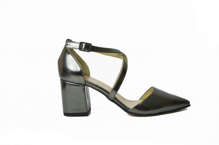 Pantofi din piele naturala cu toc gros Shiny Silver0