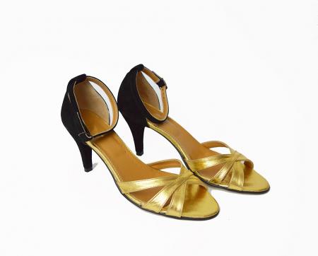 Sandale dama cu toc jos Gold Straps0