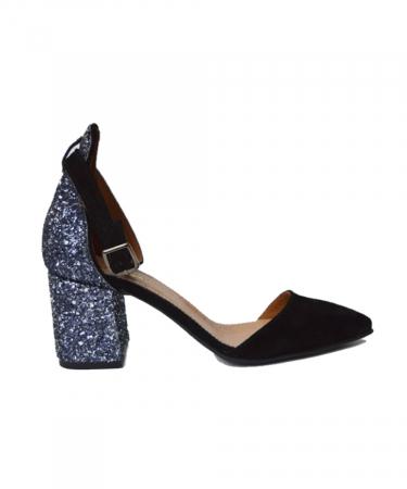 Pantofi din piele naturala cu toc gros Black Glitter0