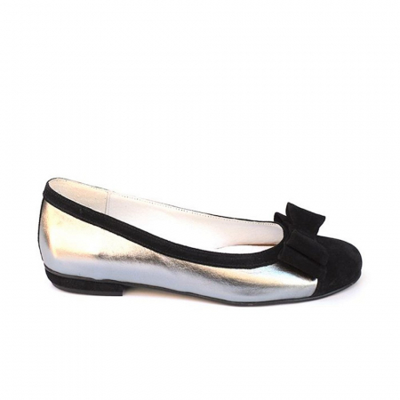 Balerini dama din piele Silver Black Bow0