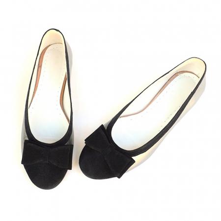 Balerini dama din piele Silver Black Bow2