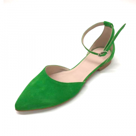 Balerini dama din piele intoarsa Green Lara2
