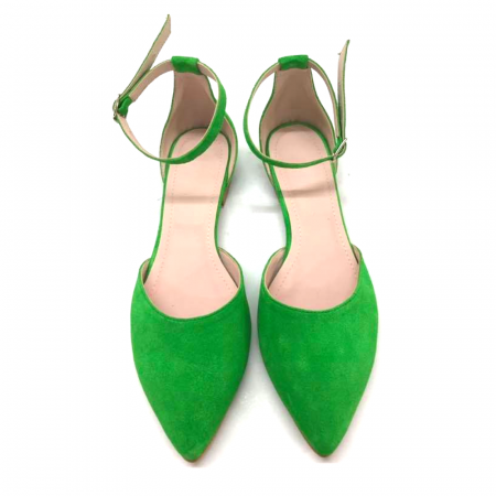 Balerini dama din piele intoarsa Green Lara1