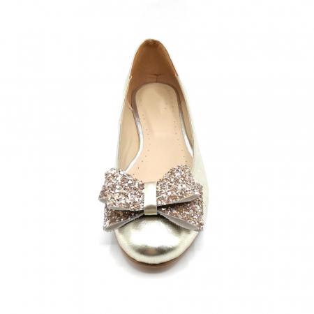 Balerini dama din piele Gold Glitter Bow2