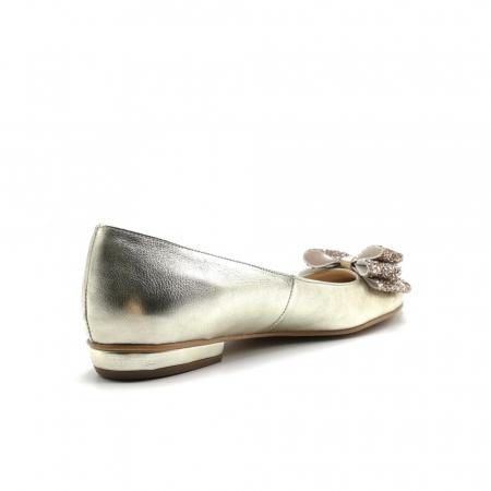 Balerini dama din piele Gold Glitter Bow1