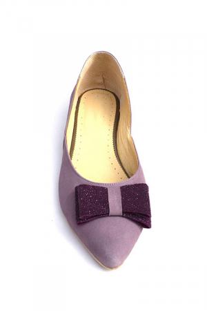 Balerini dama din piele intoarsa Purple Bow2
