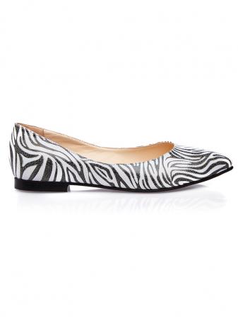 Balerini dama din piele naturala cu imprimeu zebra Francesca0