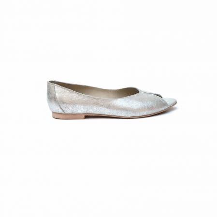 Balerini dama din piele texturata Silver0