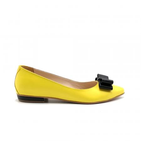 Balerini dama din piele Yellow Bow0