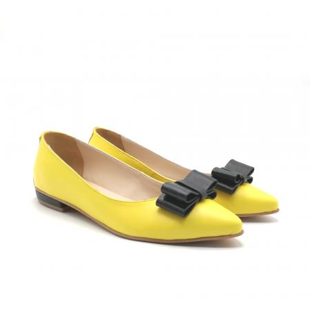 Balerini dama din piele Yellow Bow1