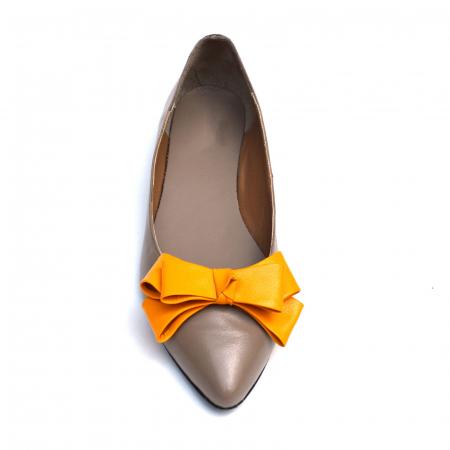 Balerini dama din piele Orange Bow2