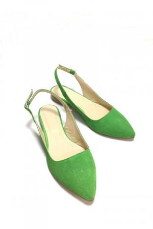 Balerini decupati din piele Lia Velvet Green2