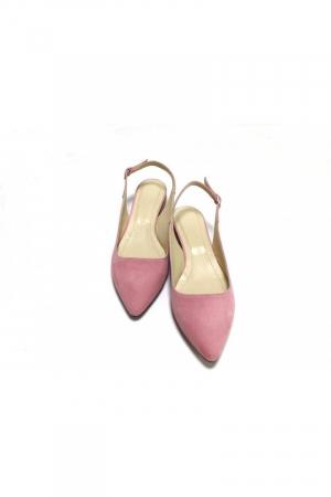 Balerini decupati din piele Lia Velvet Powder Pink2
