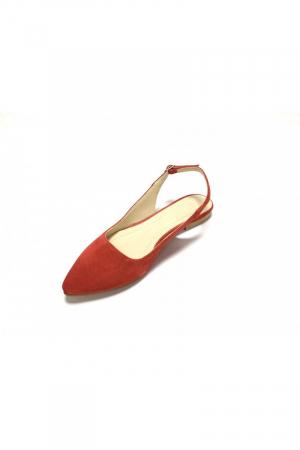 Balerini decupati din piele Lia Velvet Red