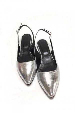 Balerini decupati din piele Silver Lia [2]