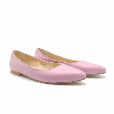 Balerini din piele naturala Pink CA051
