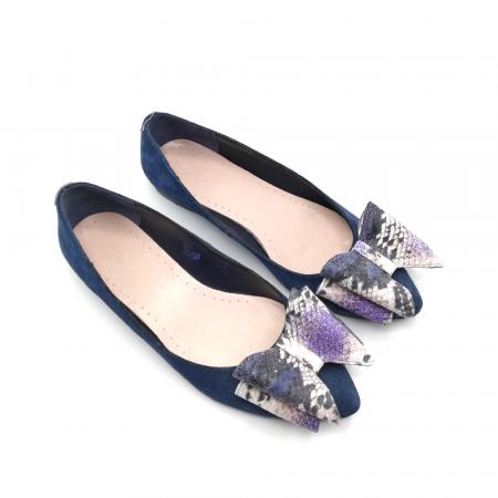 Balerini bleumarin din piele naturala cu funda supradimensionata Purple Snake2