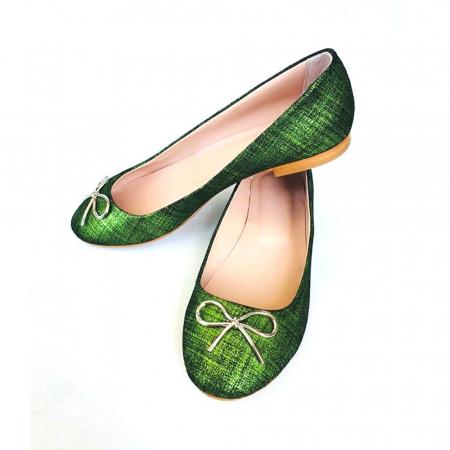Balerini din piele naturala si varf rotund Palm Green1