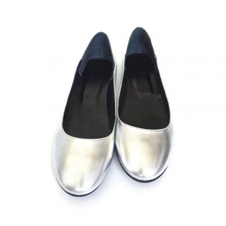 Balerini din piele naturala si varf rotund Vera Silver1