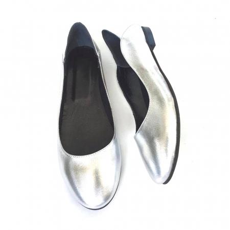 Balerini din piele naturala si varf rotund Vera Silver3