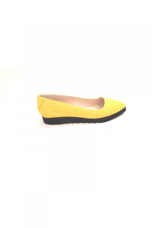 Balerini din piele Yellow Cora3