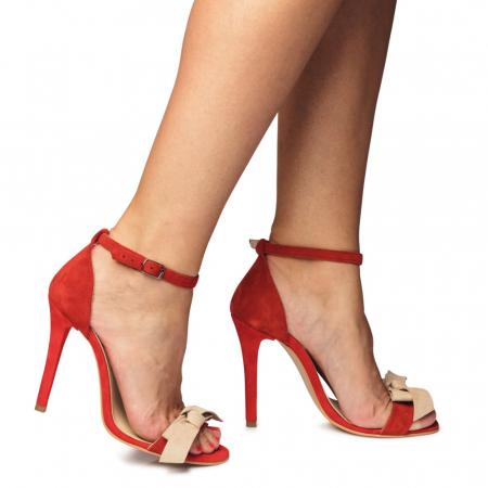 Sandale rosii cu toc inalt si funda nude din piele intoarsa, CA64