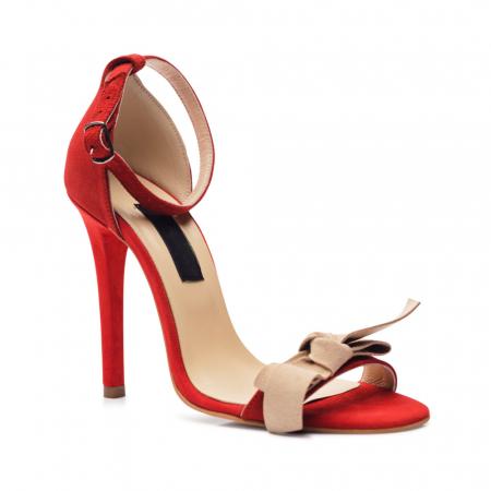 Sandale rosii cu toc inalt si funda nude din piele intoarsa, CA61