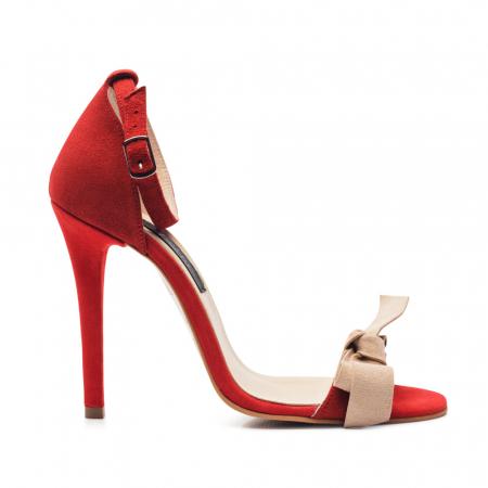 Sandale rosii cu toc inalt si funda nude din piele intoarsa, CA60