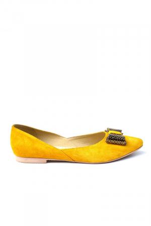 Balerini dama din piele intoarsa Yellow Bow0