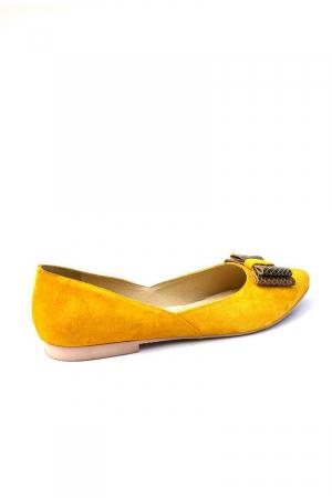 Balerini dama din piele intoarsa Yellow Bow1
