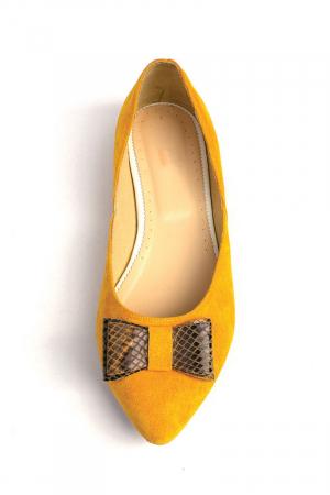 Balerini dama din piele intoarsa Yellow Bow2